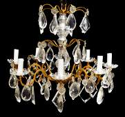 ITALIAN BRONZE  CRYSTAL EIGHT LIGHT CHANDELIER