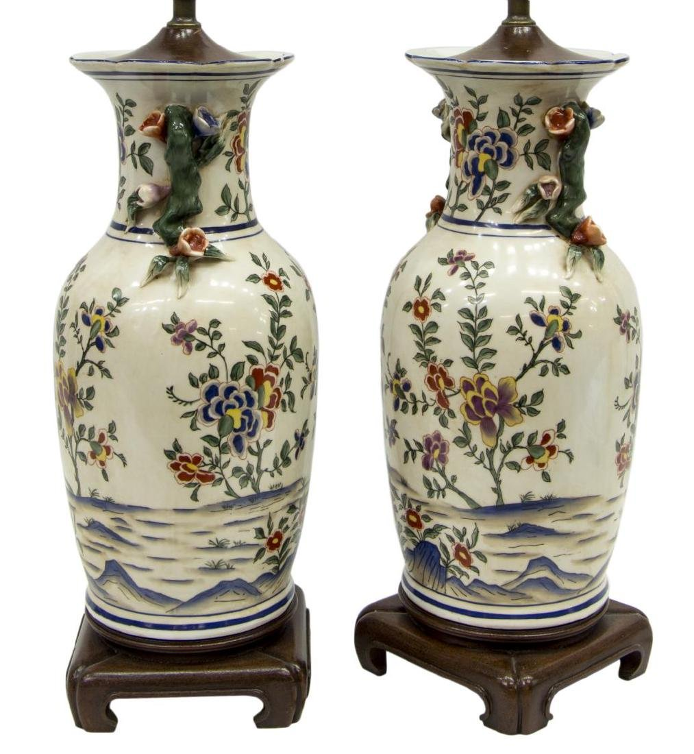 (PAIR) CHINESE PORCELAIN VASE TABLE LAMPS