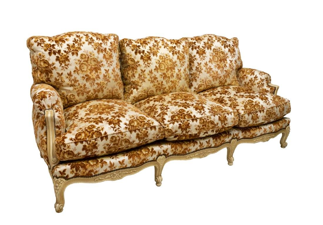 FRENCH LOUIS XV STYLE DISTRESSED UPHOLSTERED SOFA