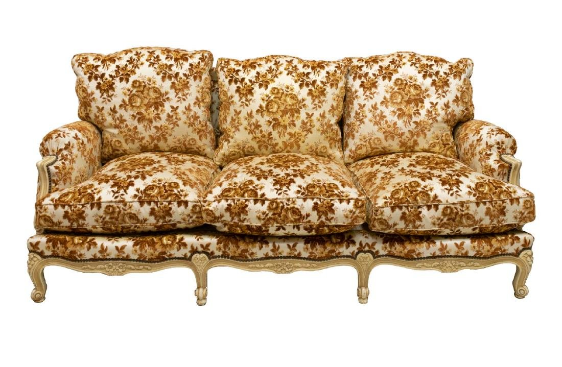 FRENCH LOUIS XV STYLE DISTRESSED UPHOLSTERED SOFA - 2