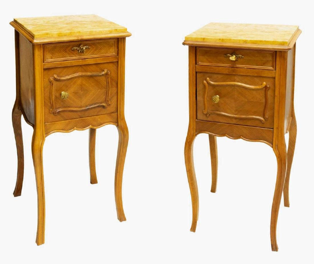 (2) FRENCH LOUIS XV STYLE WALNUT BEDSIDE CABINETS