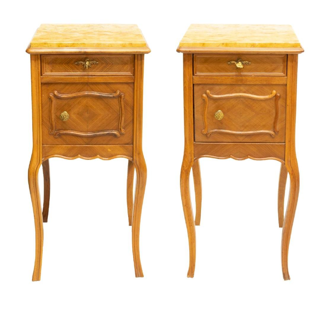 (2) FRENCH LOUIS XV STYLE WALNUT BEDSIDE CABINETS - 2