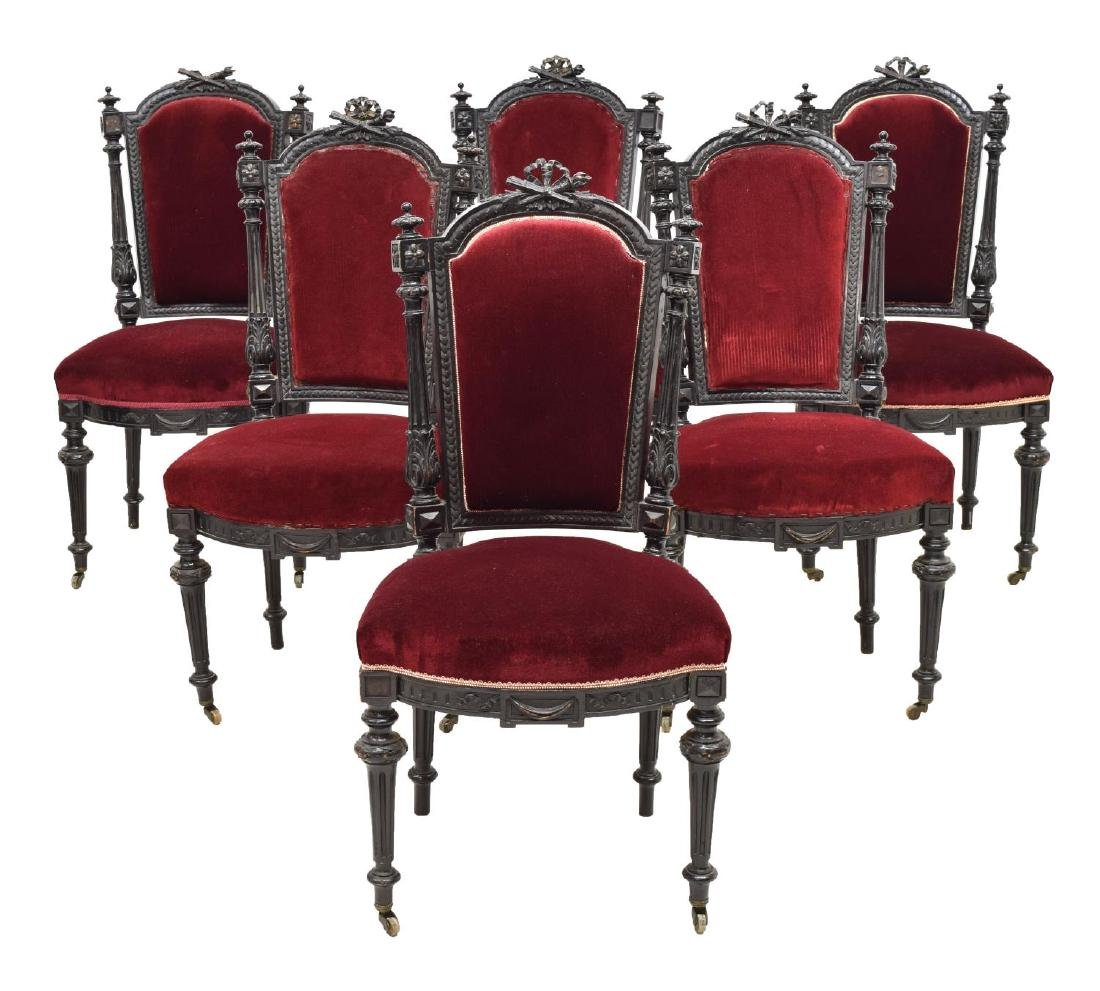 (6) FRENCH LOUIS XVI STYLE EBONIZED DINING CHAIRS