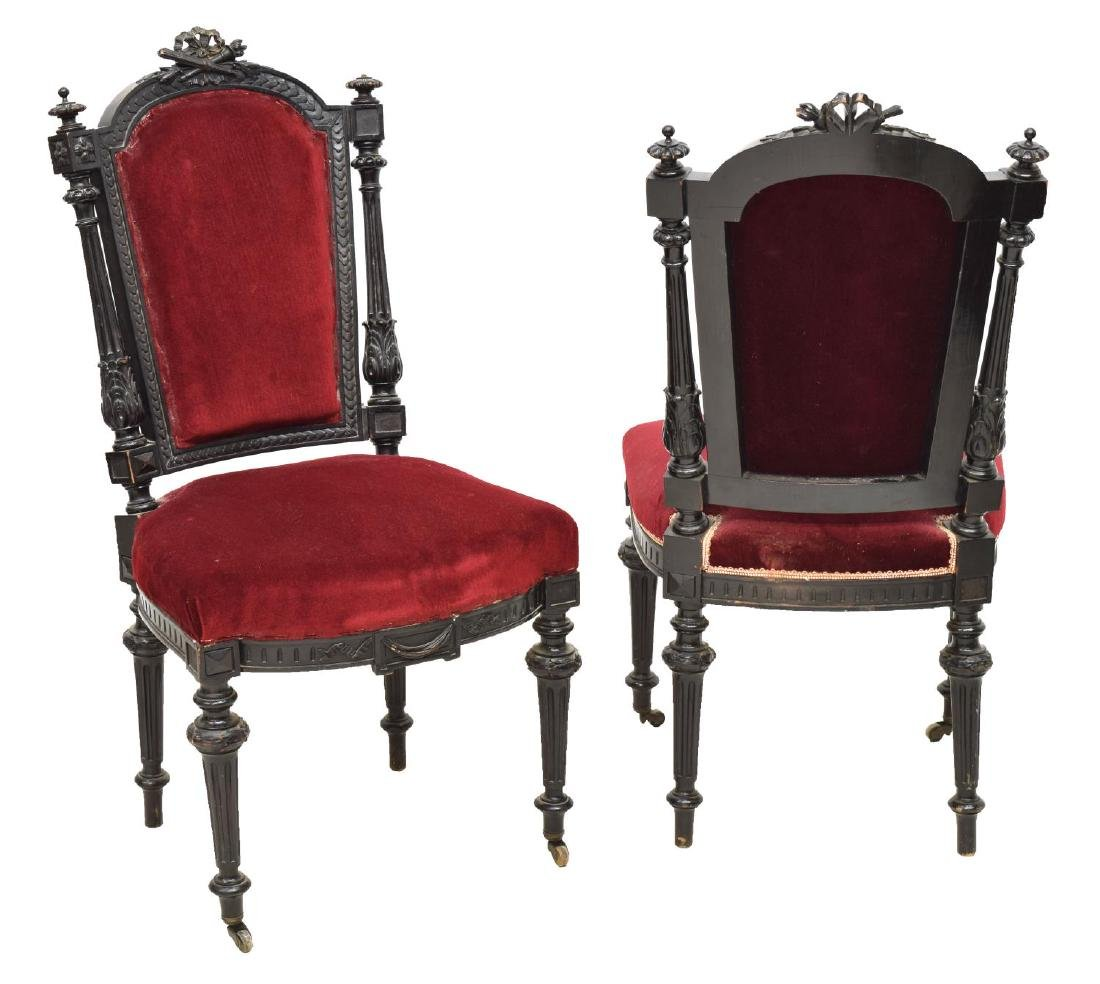 (6) FRENCH LOUIS XVI STYLE EBONIZED DINING CHAIRS - 2