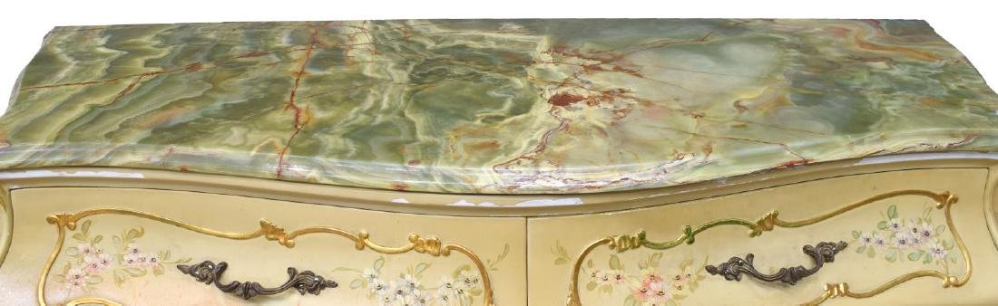 ITALIAN LOUIS XV STYLE PAINTED BOMBE COMMODE - 3