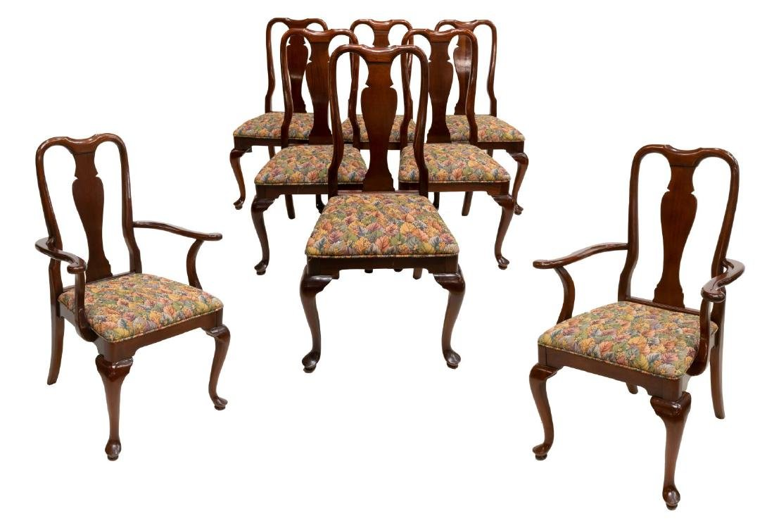 (8) HICKORY QUEEN ANNE STYLE MAHOGANY DINING CHAIR