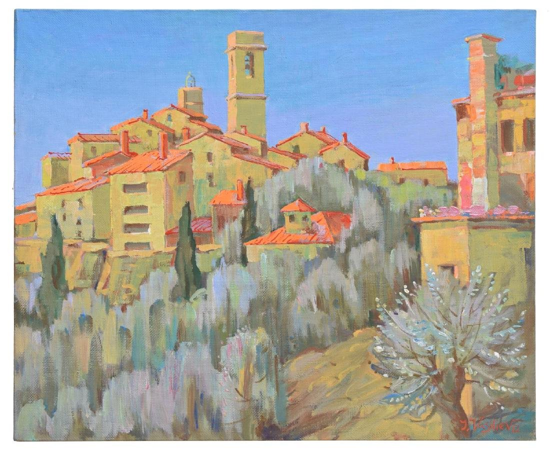 YURI VASILIEV 'SAINT PAUL DE VENCE' OIL PAINTING