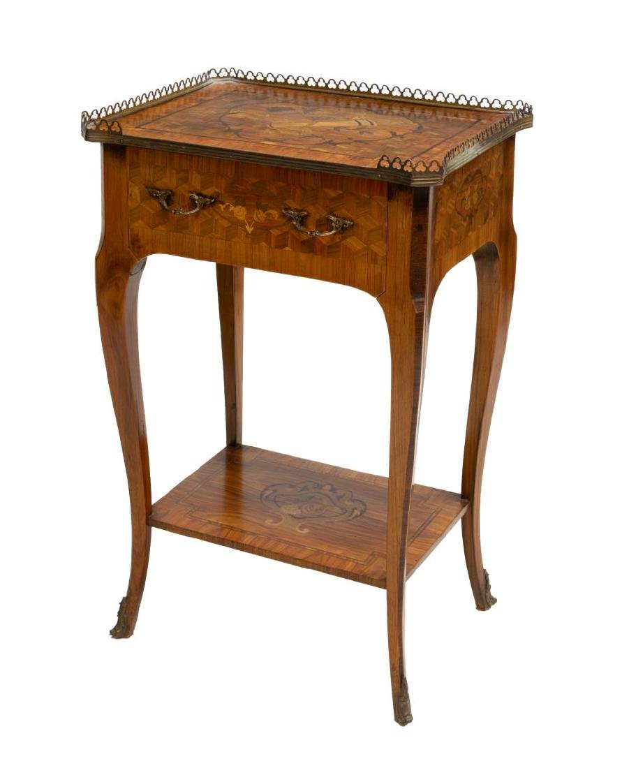 FRENCH LOUIS XV STYLE MARQUETRY INLAID SIDE TABLE