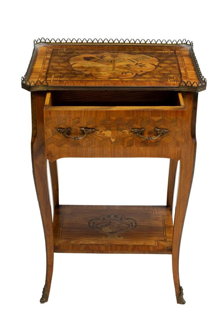 FRENCH LOUIS XV STYLE MARQUETRY INLAID SIDE TABLE - 2