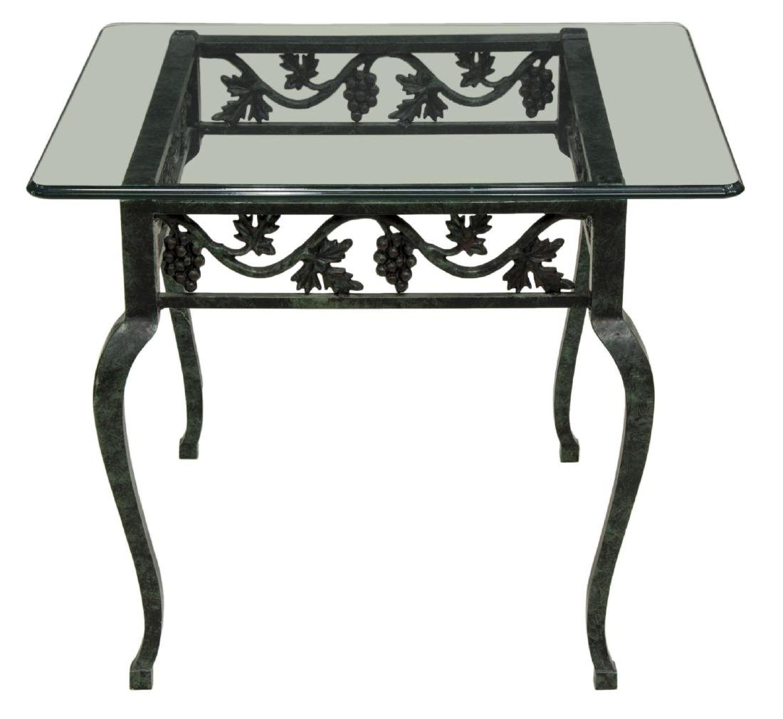 CONTEMPORARY GLASS TOP SIDE TABLE, GRAPEVINES - 2
