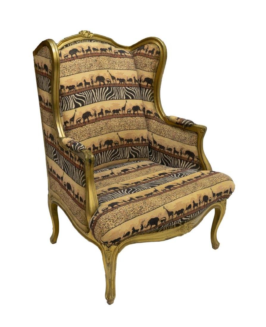 LOUIS XV STYLE WINGBACK UPHOLSTERED ARMCHAIR
