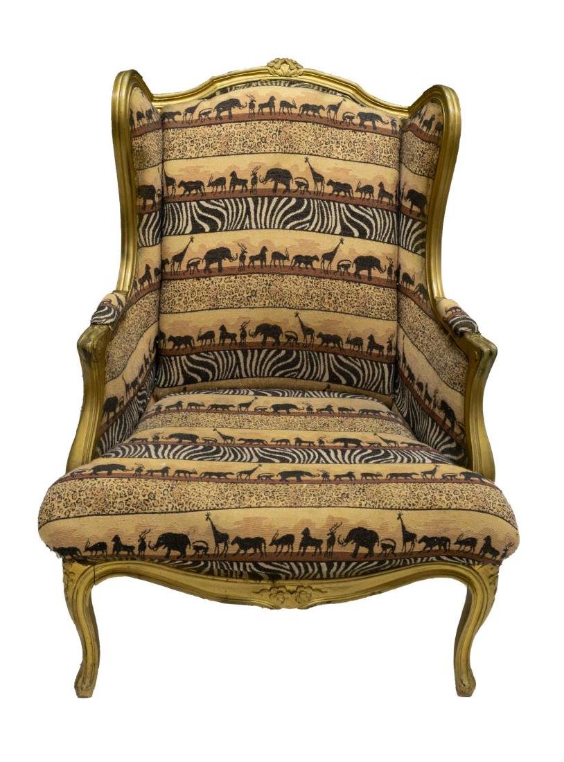 LOUIS XV STYLE WINGBACK UPHOLSTERED ARMCHAIR - 2