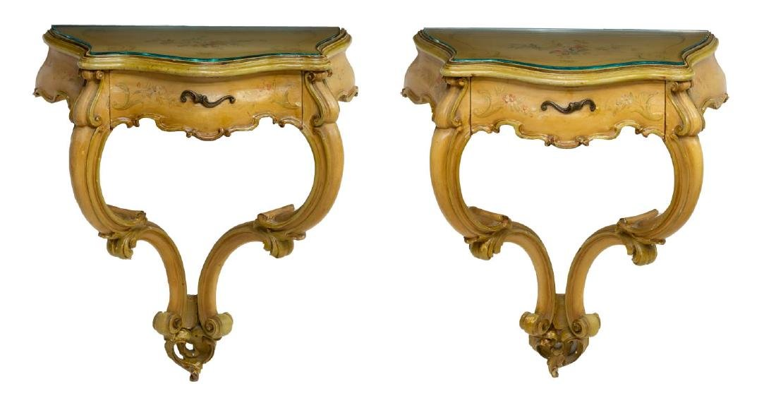 (PAIR) VENETIAN PAINTED BRACKET CONSOLES