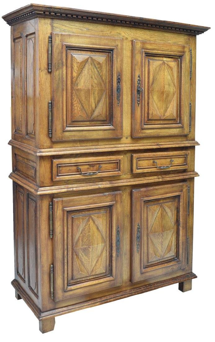 FRENCH LOUIS XIV STYLE CARVED OAK CABINET