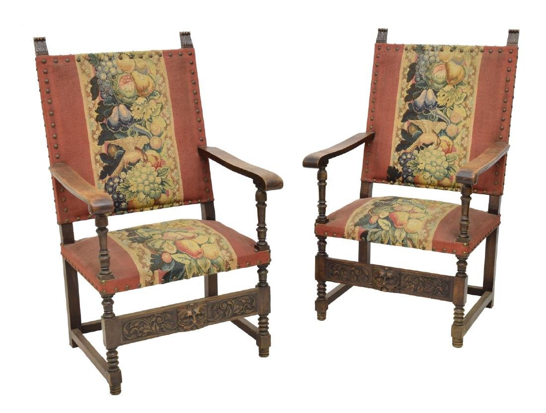 30(2) FRENCH RENAISSANCE REVIVAL ARM CHAIRS