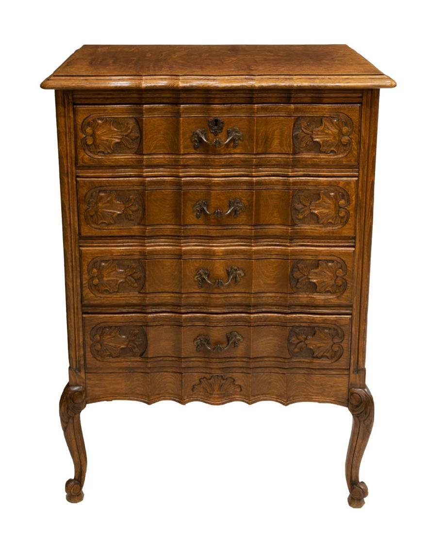 PETITE LOUIS XV STYLE FIGURED OAK CHEST OF DRAWERS - 2
