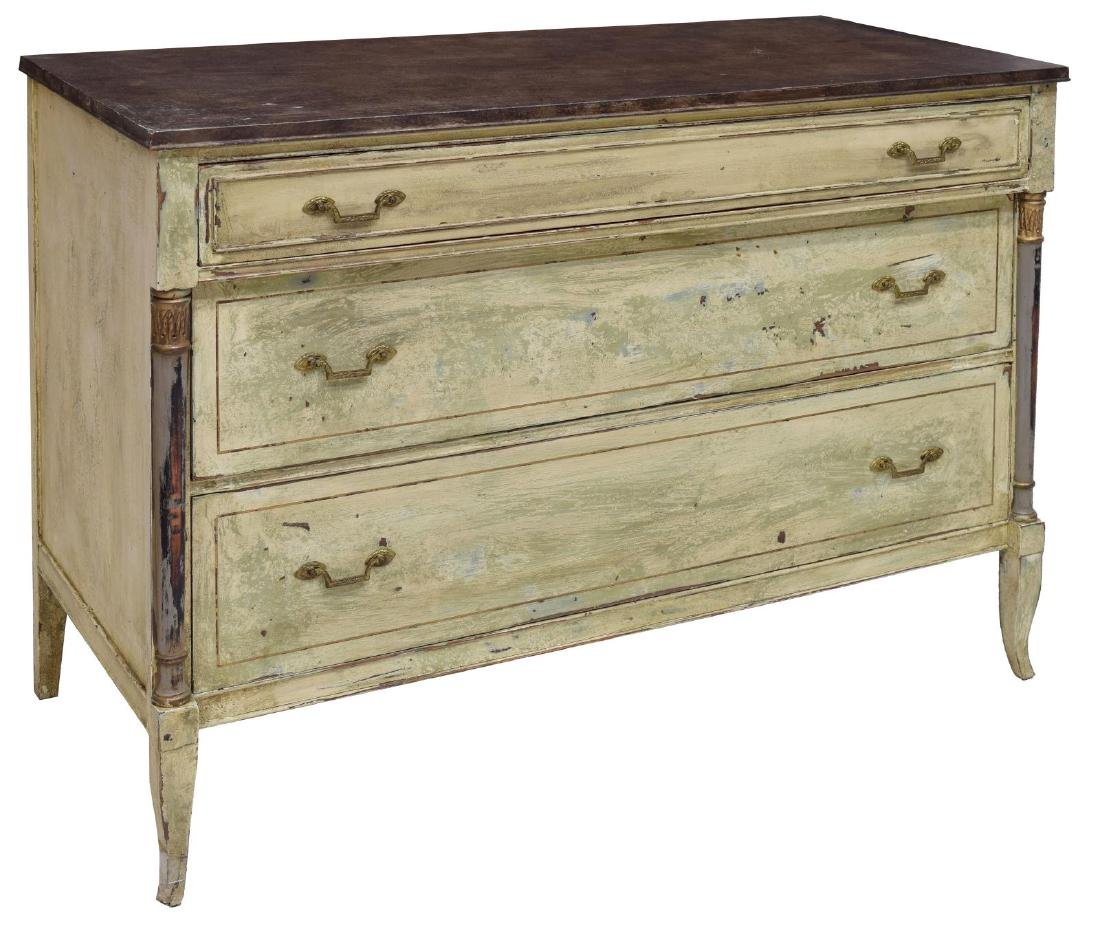 VINTAGE FRENCH STYLE PAINTED THREE DRAWER COMMODE