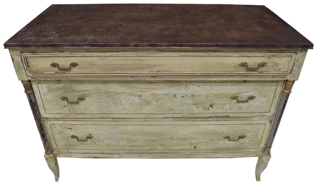VINTAGE FRENCH STYLE PAINTED THREE DRAWER COMMODE - 2
