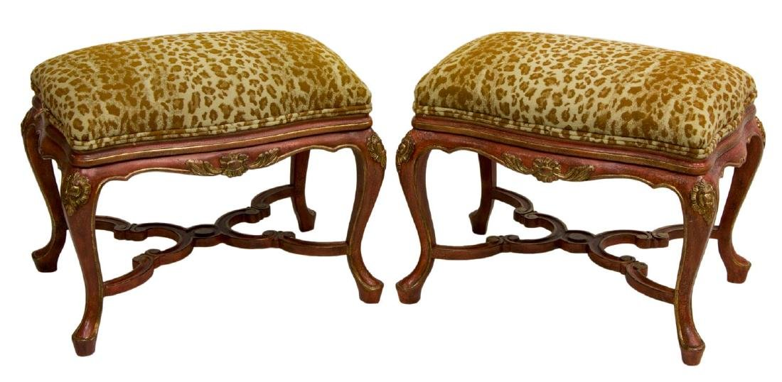 (2) LOUIS XV STYLE PARCEL GILT UPHOLSTERED OTTOMAN