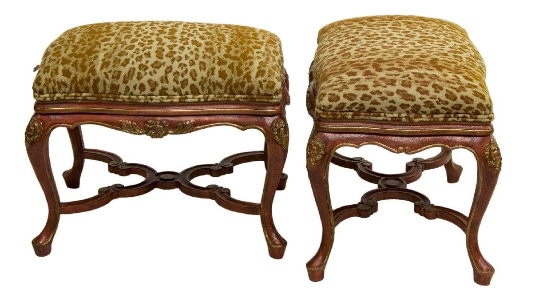 (2) LOUIS XV STYLE PARCEL GILT UPHOLSTERED OTTOMAN - 2