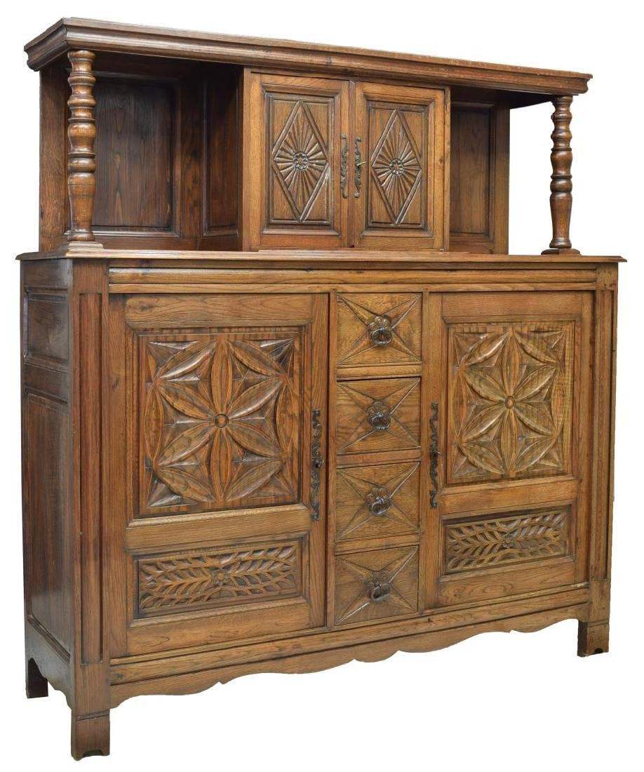FRENCH FLORAL CARVED OAK BUFFET DEUX CORPS