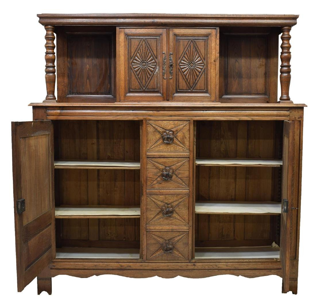 FRENCH FLORAL CARVED OAK BUFFET DEUX CORPS - 2