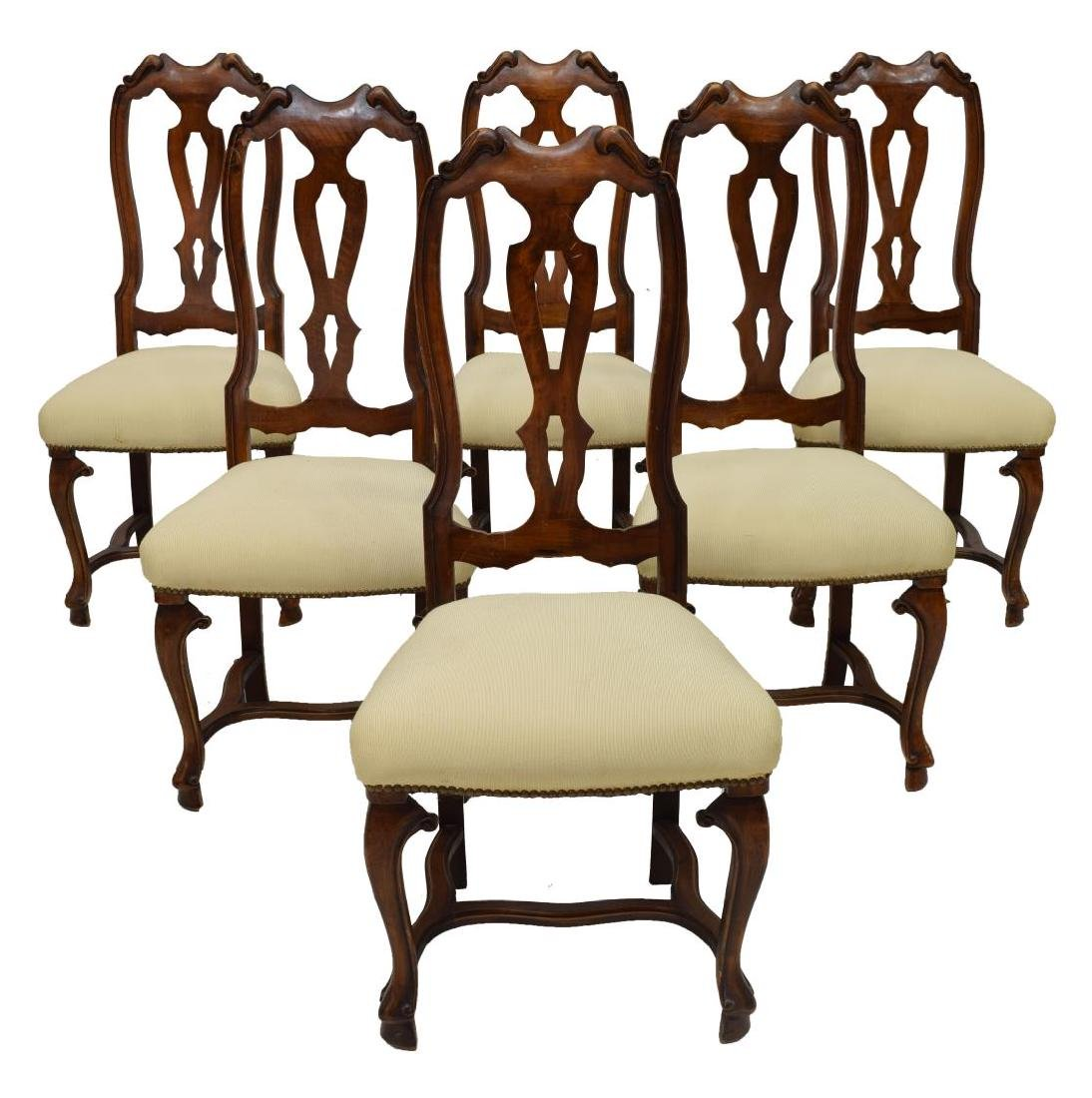 (6) ENGLISH WALNUT DINING CHAIRS