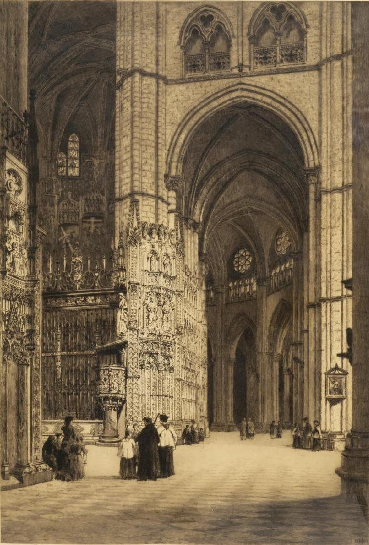 AXEL HAIG (D.1921) SIGNED ETCHING TOLEDO CATHEDRAL