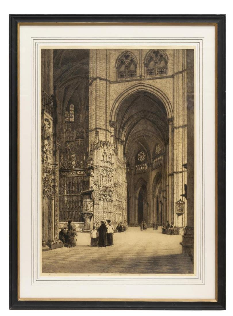 AXEL HAIG (D.1921) SIGNED ETCHING TOLEDO CATHEDRAL - 3