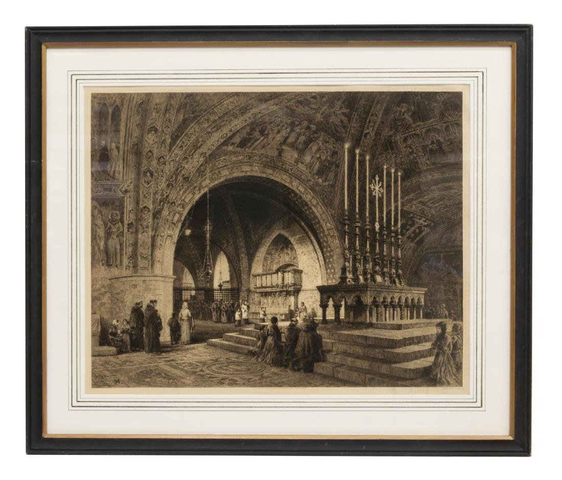 AXEL HAIG (D.1921) SIGNED ETCHING FRANCIS, ASSISI - 3