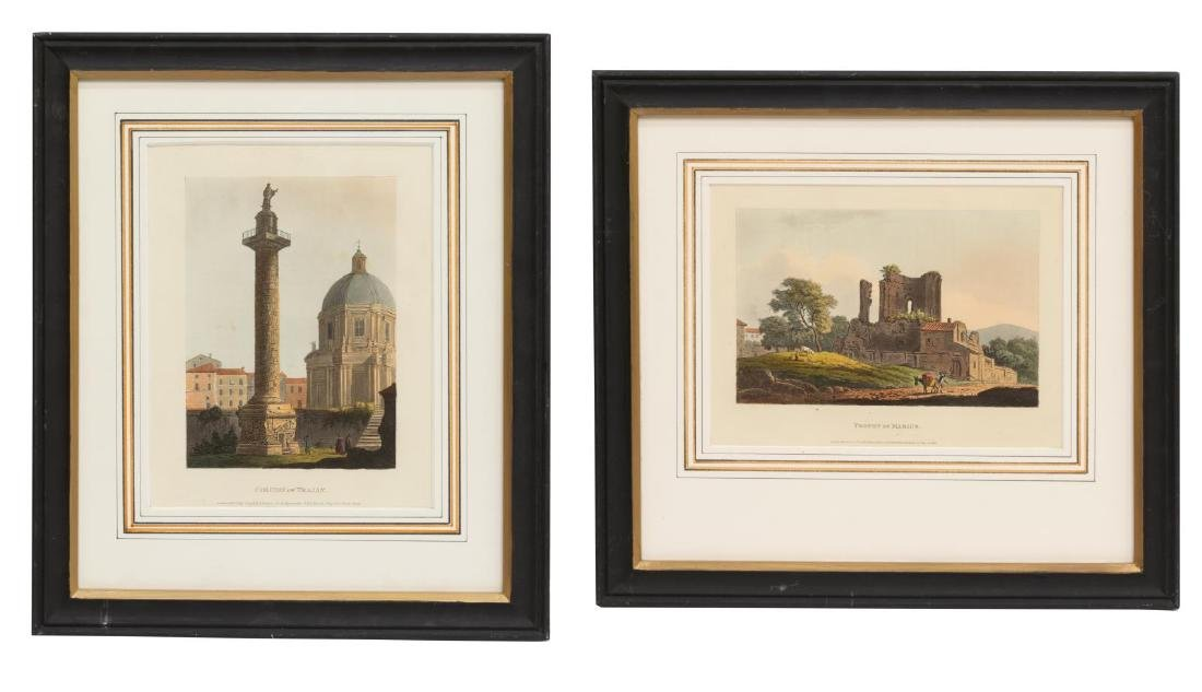 (2) JAMES MERIGOT (D.1824) VIEWS OF ROME AQUATINTS