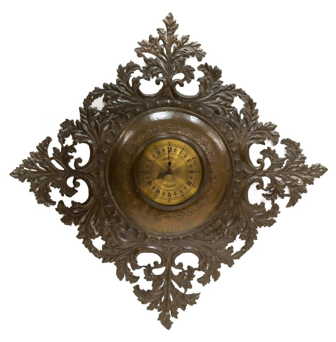 PIERCED & HAMMERED COPPER SMITHS 8-DAY WALL CLOCK
