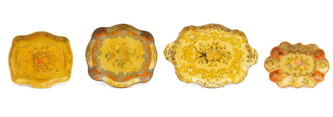 (7) PAINTED PAPER MACHE SERVING TRAYS - 2