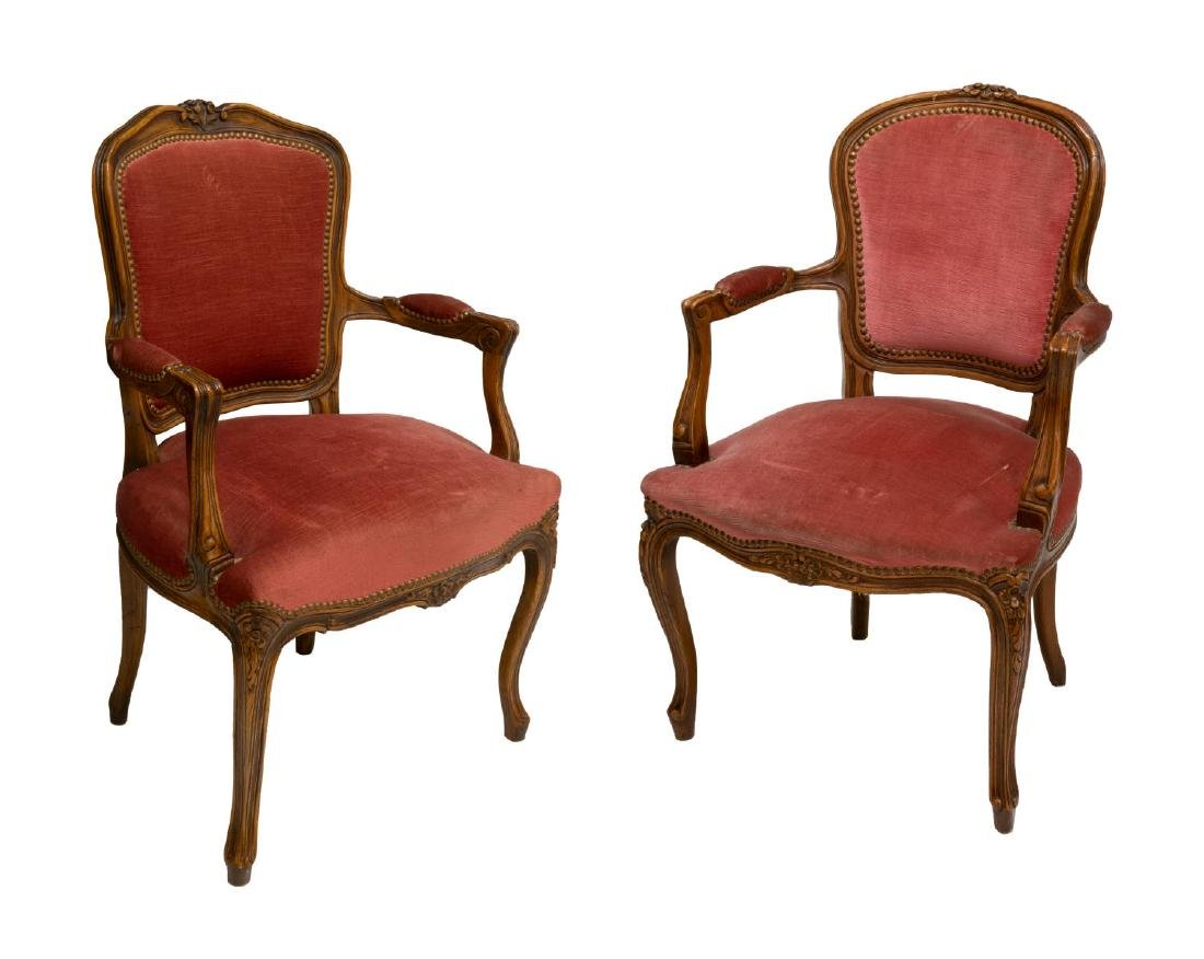(2) LOUIS XV STYLE CARVED WALNUT ARMCHAIRS