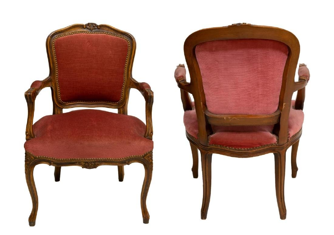 (2) LOUIS XV STYLE CARVED WALNUT ARMCHAIRS - 2