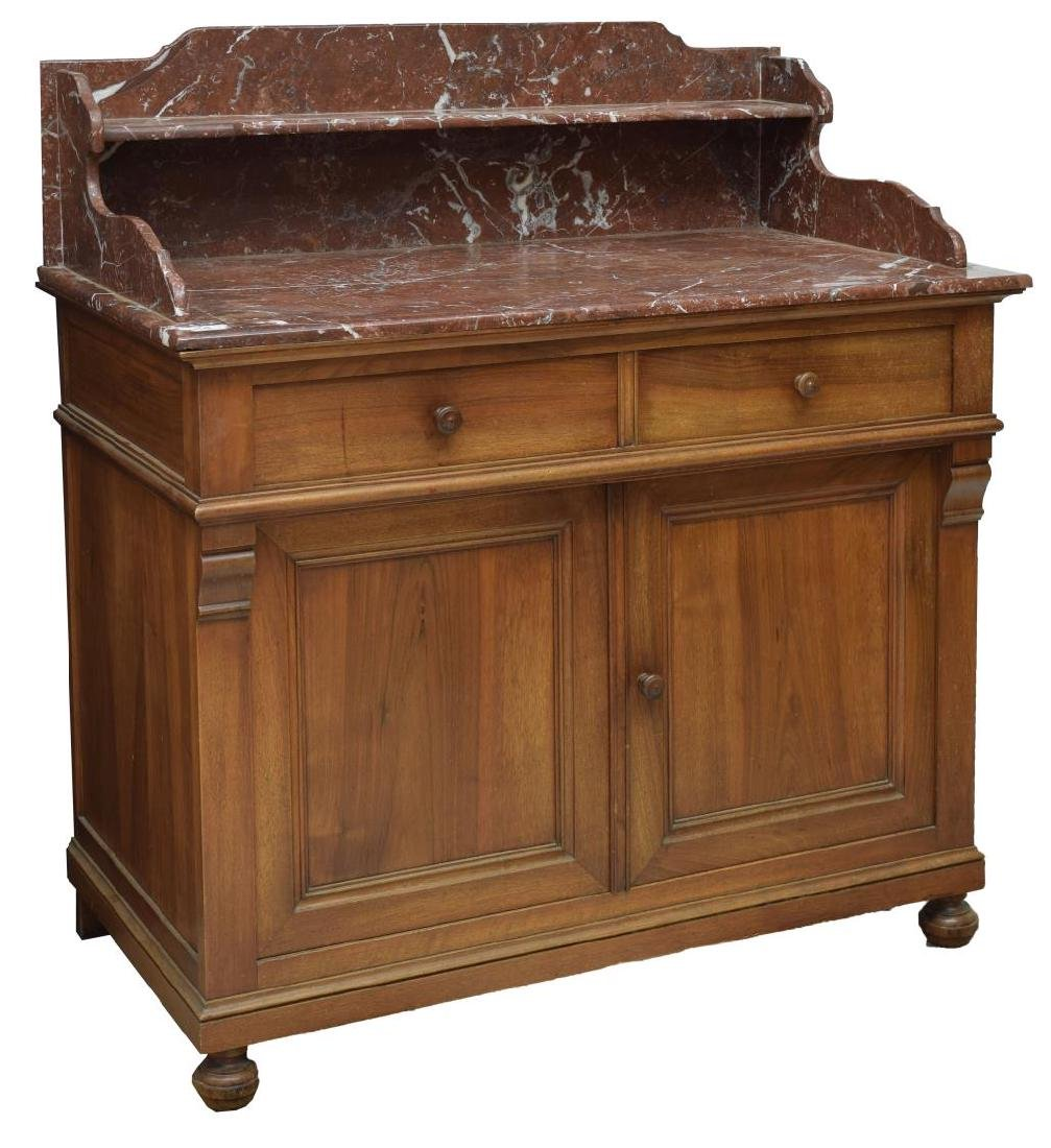 FRENCH MARBLE-TOP WALNUT WASH STAND CABINET