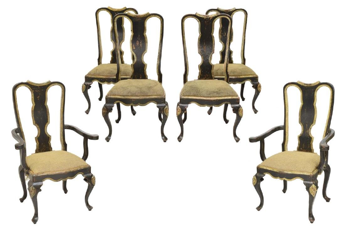 (6) QUEEN ANNE STYLE DINING CHAIRS, BRAZIL