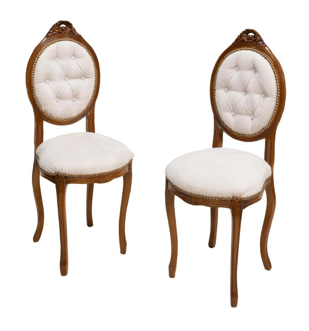 (2) ITALIAN OVAL SHAPED & BUTTONED HALL CHAIRS
