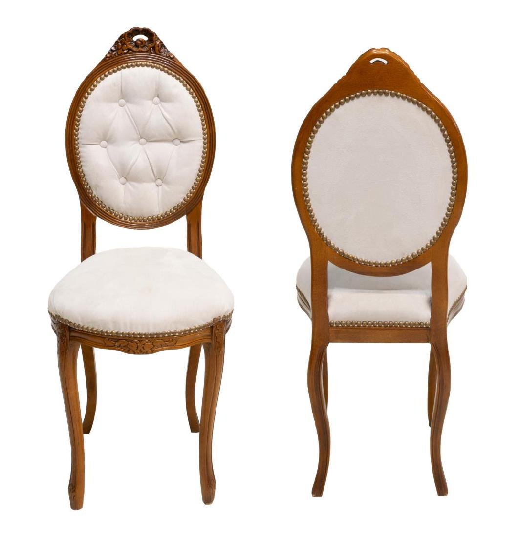 (2) ITALIAN OVAL SHAPED & BUTTONED HALL CHAIRS - 2