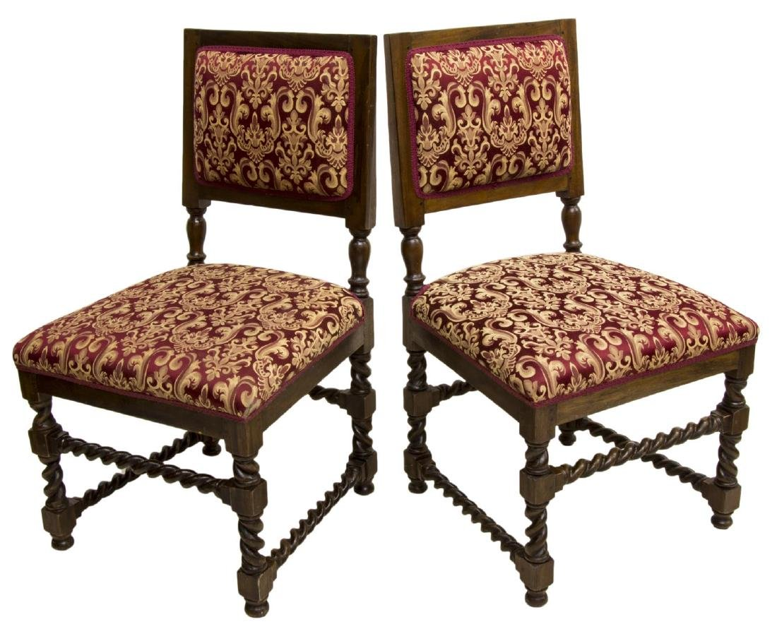 (2) CONTINENTAL SPIRAL CARVED SIDE CHAIRS