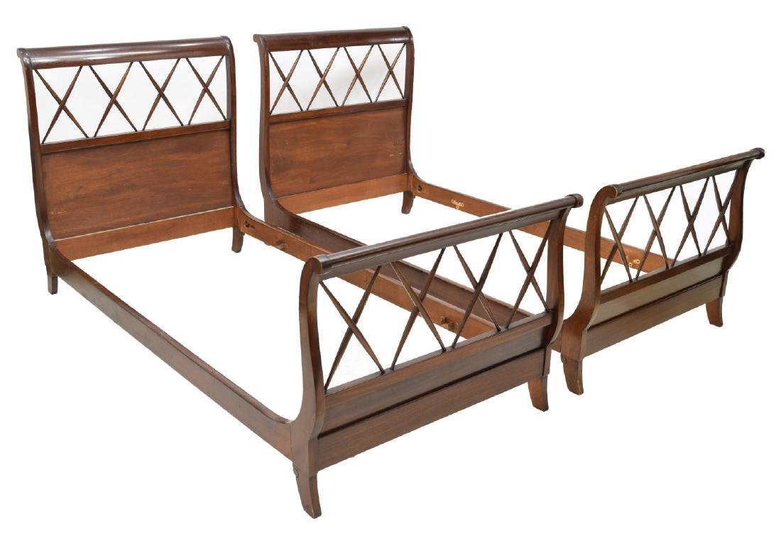 (PAIR) FRENCH CHARLES X STYLE SLEIGH BEDS