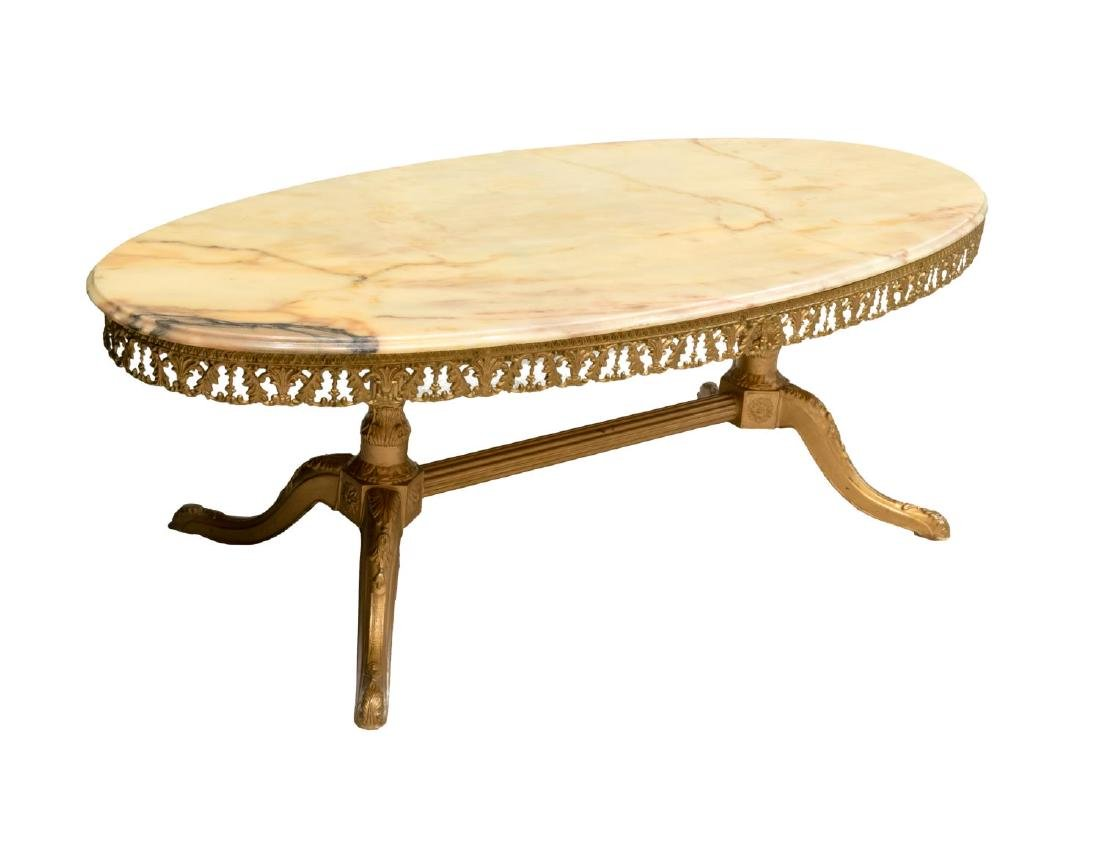 FRENCH OVAL MARBLE TOP GILT METAL COFFEE TABLE