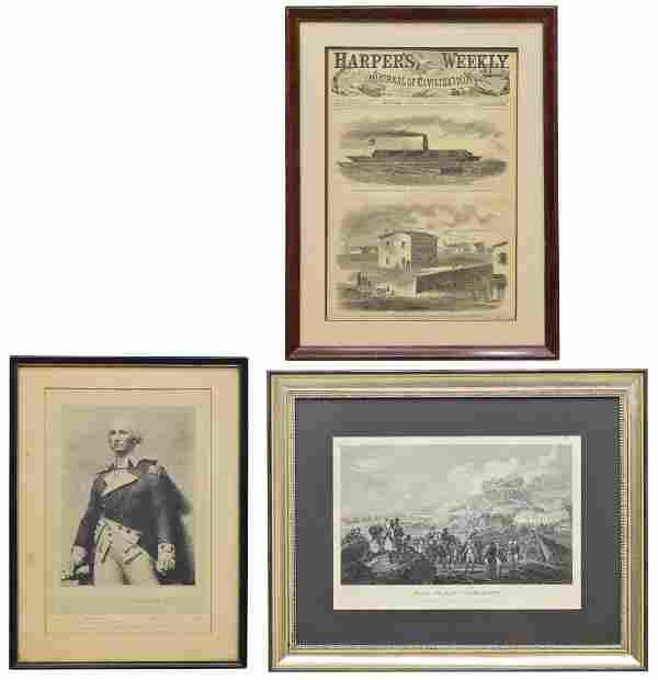 (3) FRAMED ENGRAVINGS & 1861 HARPERS MERRIMAC