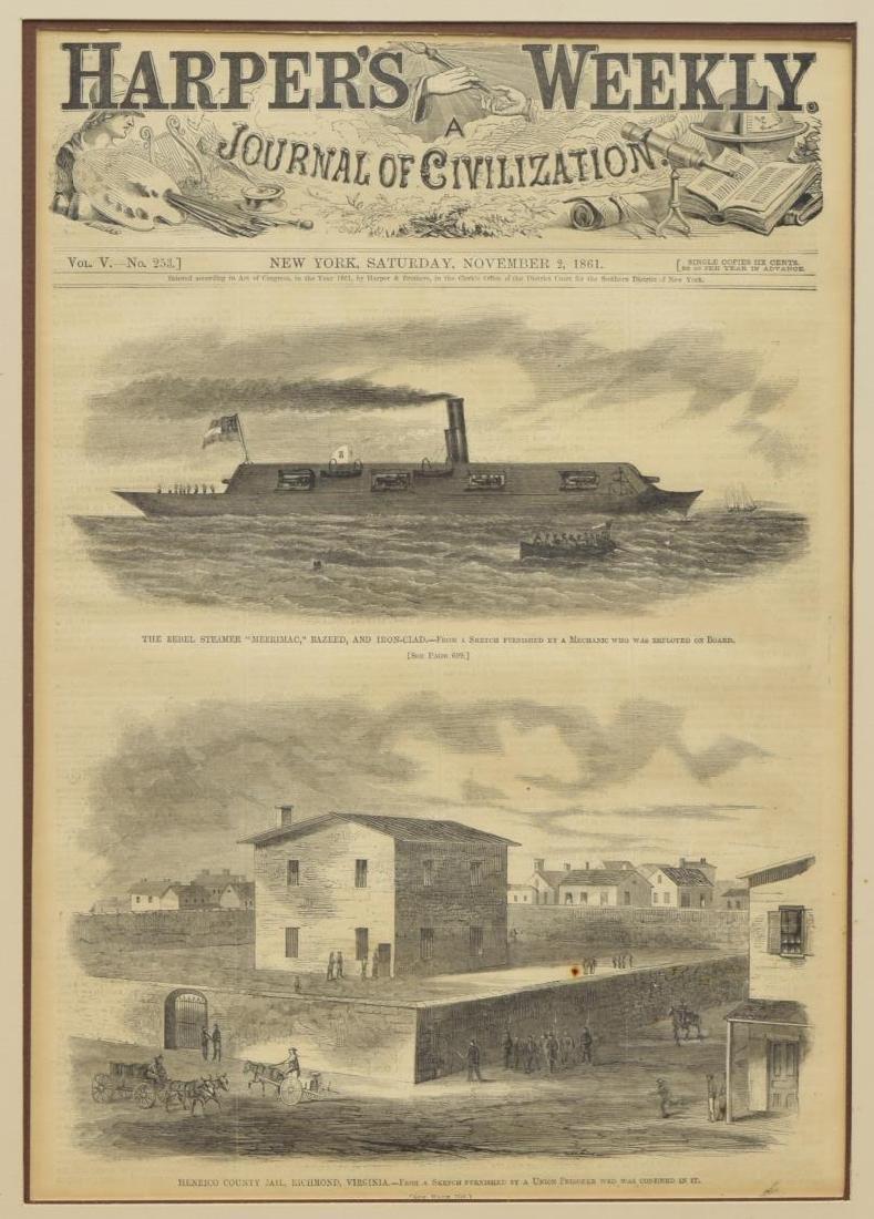 (3) FRAMED ENGRAVINGS & 1861 HARPERS MERRIMAC - 3