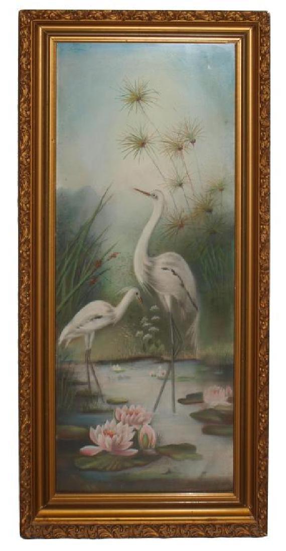 (PAIR) FRAMED NATURALIST PASTEL DRAWINGS OF BIRDS - 2