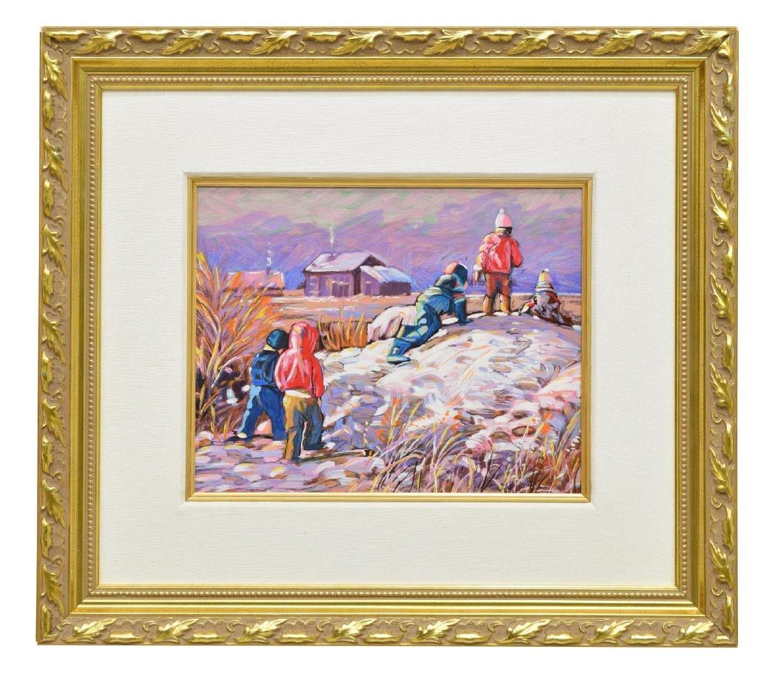 FRAMED OIL PAINTING, SNOW SCENE WITH CHILDREN - 2