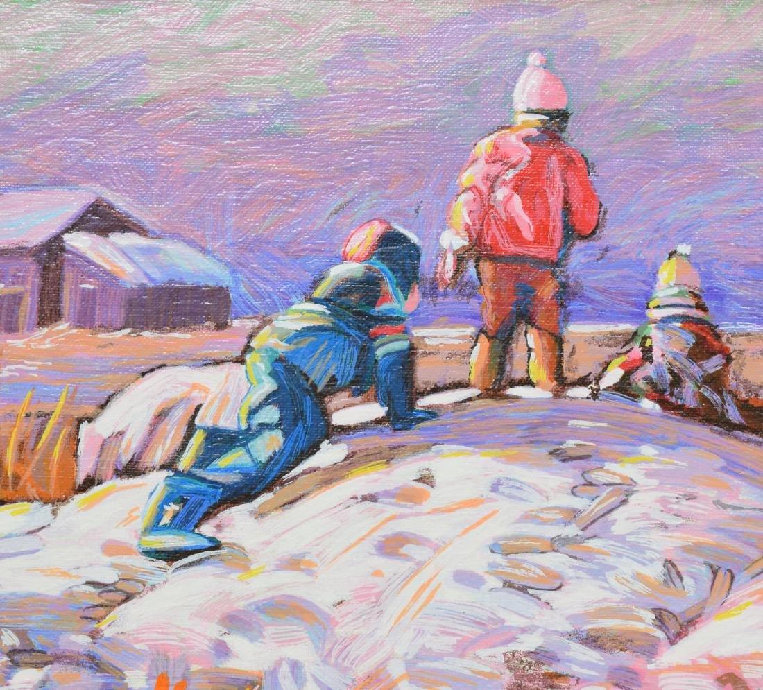 FRAMED OIL PAINTING, SNOW SCENE WITH CHILDREN - 3
