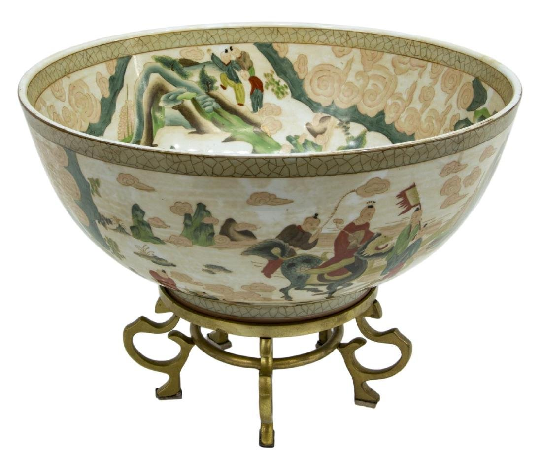 CHINESE PORCELAIN CENTERPIECE BOWL ON STAND