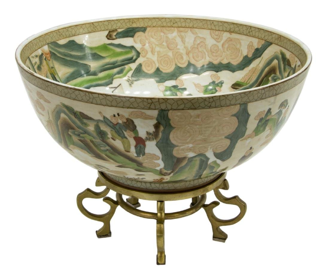 CHINESE PORCELAIN CENTERPIECE BOWL ON STAND - 2