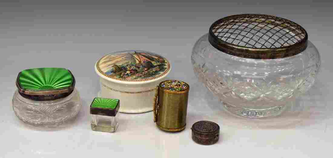 (6) DRESSER/ VANITY BOXES, SILVER GUILLOCHE ENAMEL